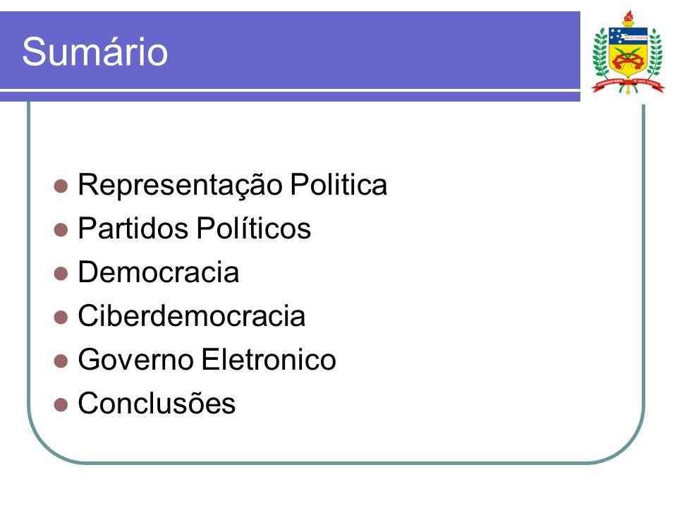 Representação Política diálogo entre o instituto da representação política inserido no contexto da era que passou a ser denominada de ciberdemocracia.