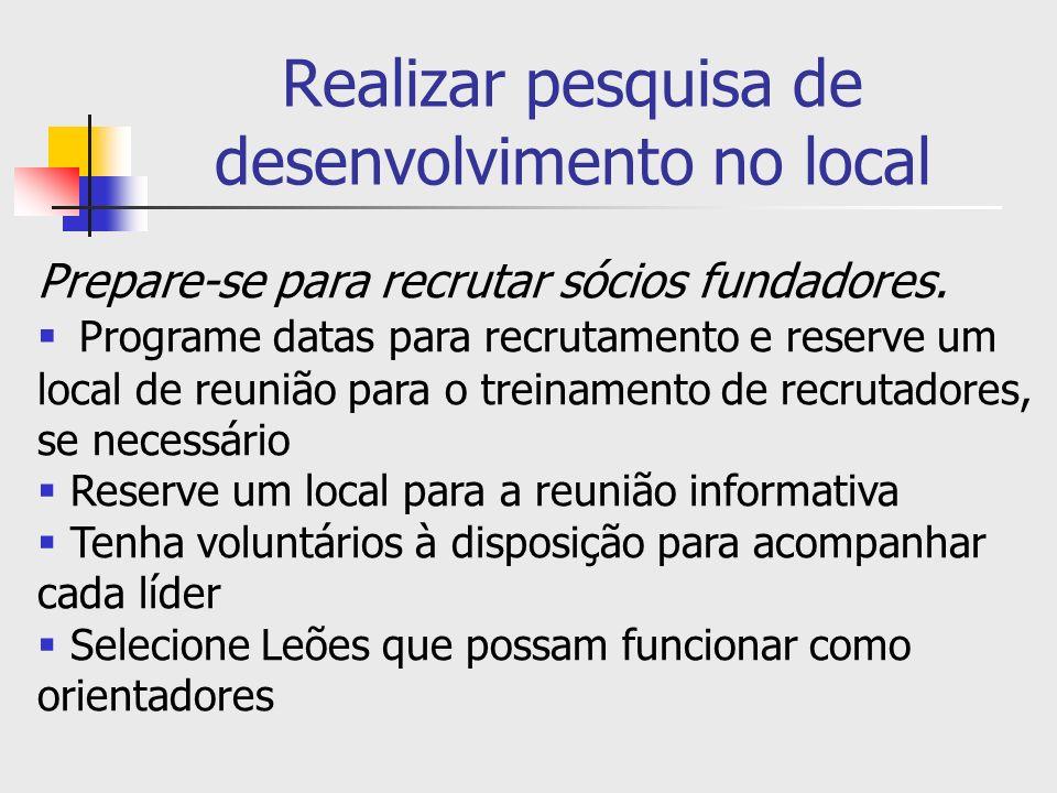 Realizar pesquisa de desenvolvimento no local Prepare-se para recrutar sócios fundadores. Programe datas para recrutamento e reserve um local de reuni
