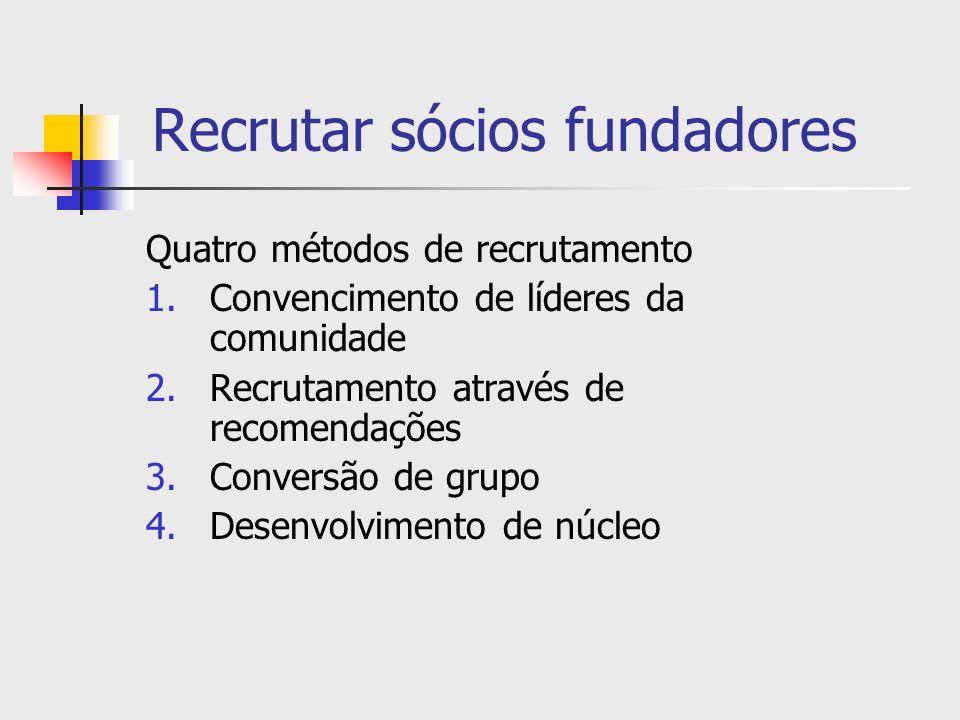 Recrutar sócios fundadores Quatro métodos de recrutamento 1.Convencimento de líderes da comunidade 2.Recrutamento através de recomendações 3.Conversão