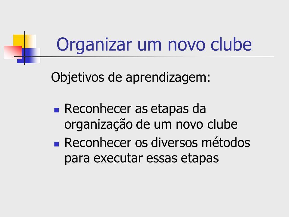 Organizar um novo clube Reconhecer as etapas da organização de um novo clube Reconhecer os diversos métodos para executar essas etapas Objetivos de ap