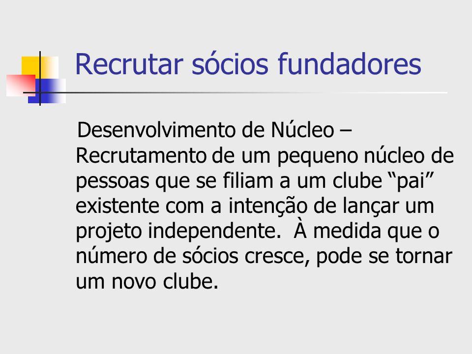 Recrutar sócios fundadores Desenvolvimento de Núcleo – Recrutamento de um pequeno núcleo de pessoas que se filiam a um clube pai existente com a inten