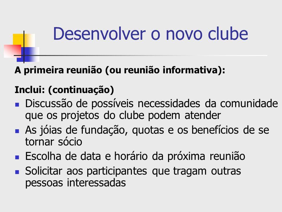 Desenvolver o novo clube A primeira reunião (ou reunião informativa): Inclui: (continuação) Discussão de possíveis necessidades da comunidade que os p