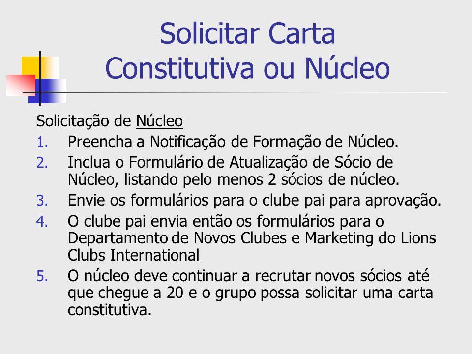 Solicitar Carta Constitutiva ou Núcleo Solicitação de Núcleo 1. Preencha a Notificação de Formação de Núcleo. 2. Inclua o Formulário de Atualização de