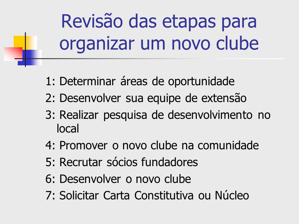 Revisão das etapas para organizar um novo clube 1: Determinar áreas de oportunidade 2: Desenvolver sua equipe de extensão 3: Realizar pesquisa de dese