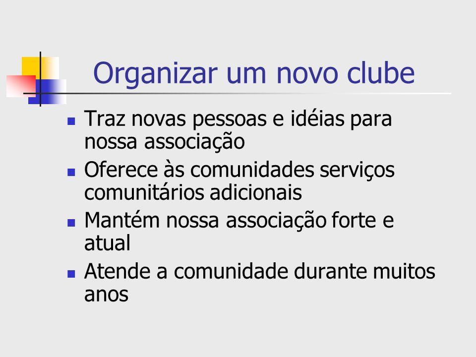 Organizar um novo clube Traz novas pessoas e idéias para nossa associação Oferece às comunidades serviços comunitários adicionais Mantém nossa associa
