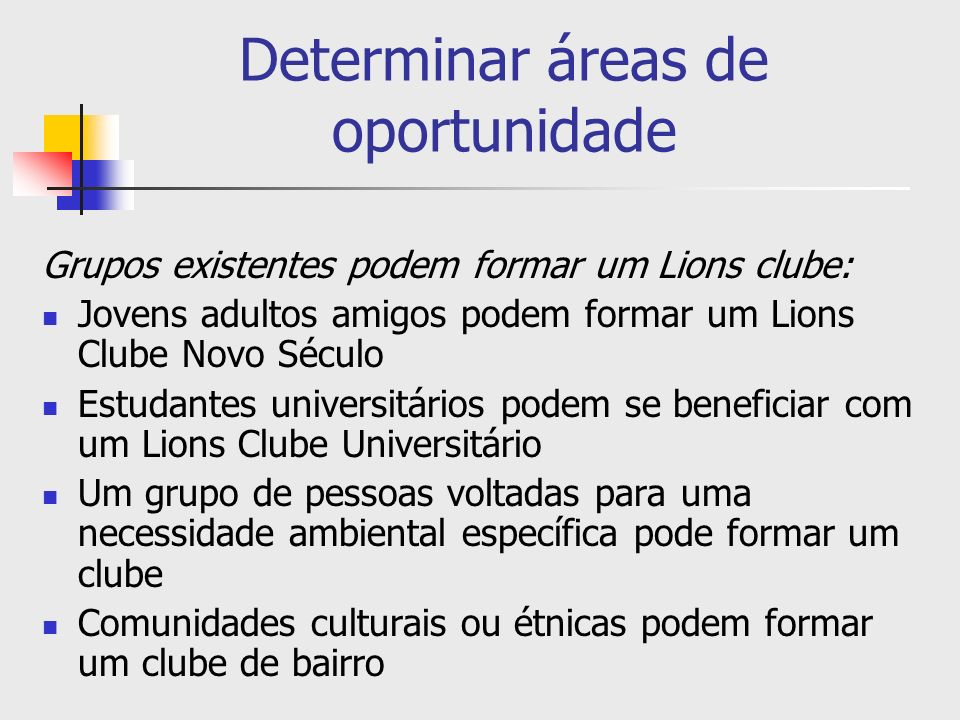 Determinar áreas de oportunidade Grupos existentes podem formar um Lions clube: Jovens adultos amigos podem formar um Lions Clube Novo Século Estudant