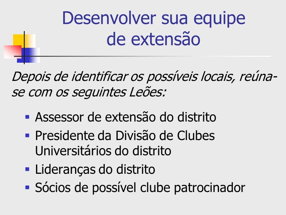 Desenvolver sua equipe de extensão Assessor de extensão do distrito Presidente da Divisão de Clubes Universitários do distrito Lideranças do distrito