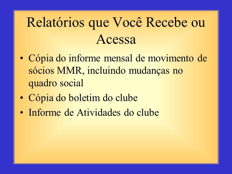 Relatórios que Você Envia Os relatórios de visitas a clubes oferecem informações vitais para o governador de distrito Revisão e análise da situação e