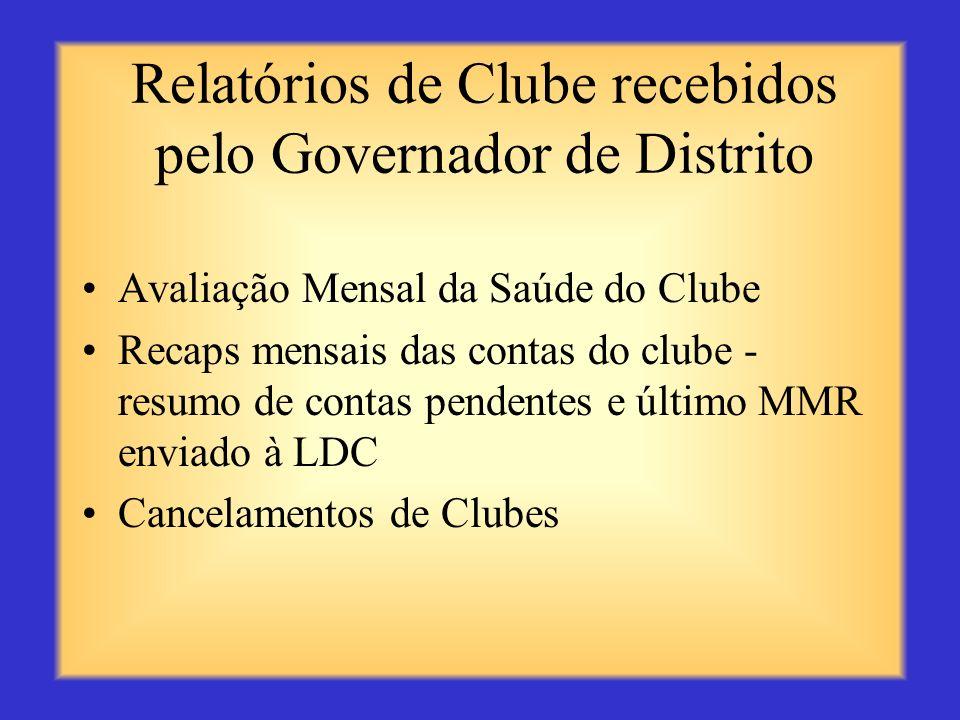 Relatórios que Você Recebe ou Acessa Cópia do informe mensal de movimento de sócios MMR, incluindo mudanças no quadro social Cópia do boletim do clube
