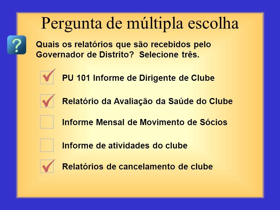PU 101 Informe de Dirigente de Clube Recap das contas dos clubes Informe Mensal de Movimento de Sócios Informe de atividades do clube Relatórios de ca
