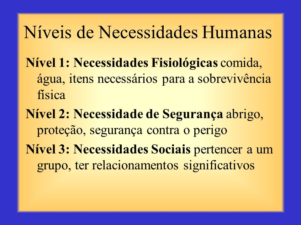 Níveis de Necessidades Humanas O psicólogo Abraham Maslow determinou que as pessoas devem ter suas necessidades atendidas como uma sequência, em ordem