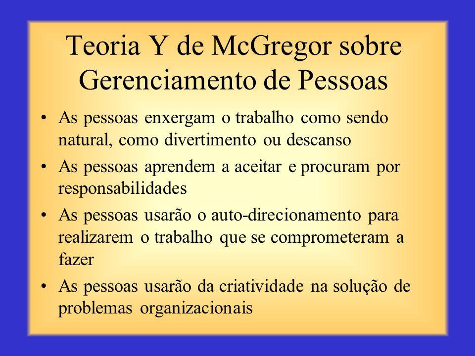 Teoria X de McGregor sobre Gerenciamento de Pessoas As pessoas não gostam do trabalho e tentarão evitá-lo As pessoas devem ser forçadas a trabalhar so
