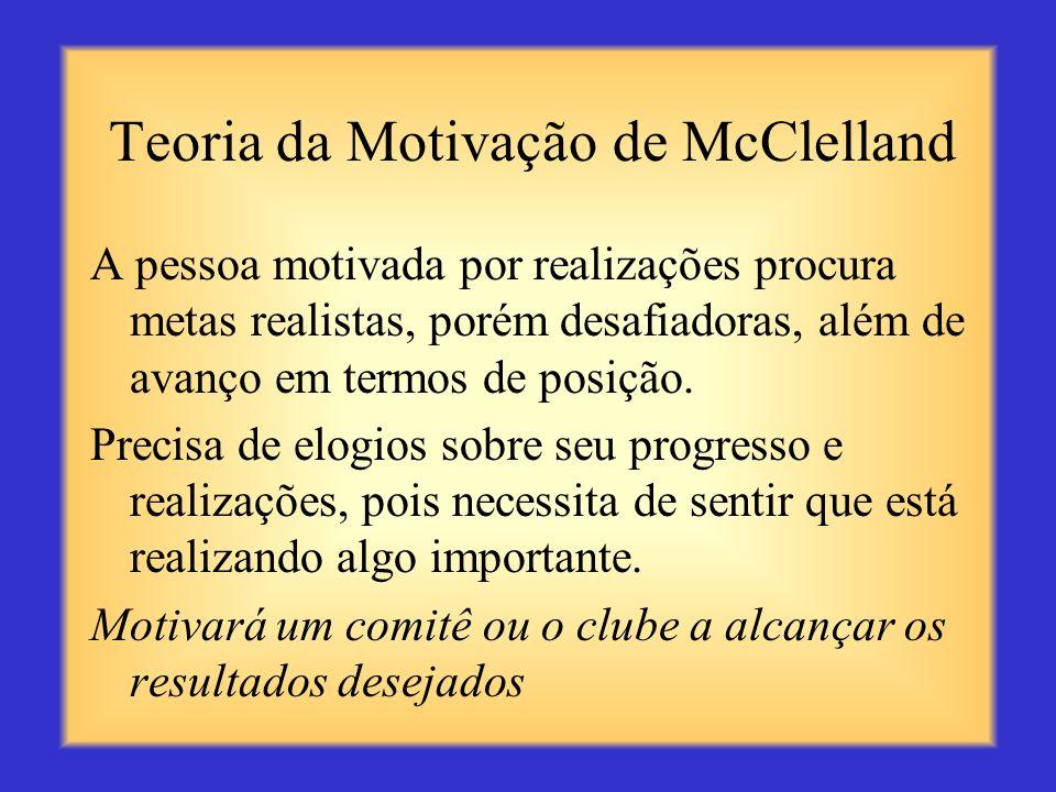 Teoria da Motivação de McClelland A pessoa motivada pela afiliação precisa de relacionamentos de amizade e interação com outras pessoas. (trabalho em