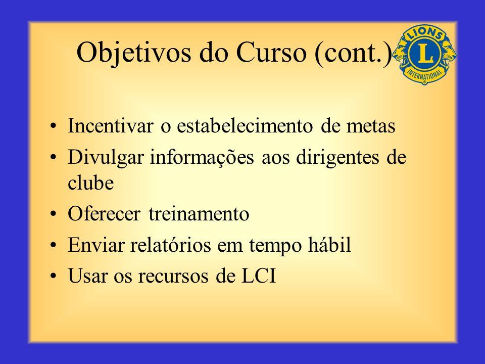 Objetivos do Curso (cont.) Incentivar o estabelecimento de metas Divulgar informações aos dirigentes de clube Oferecer treinamento Enviar relatórios em tempo hábil Usar os recursos de LCI