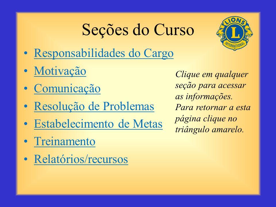 Seções do Curso Responsabilidades do Cargo Motivação Comunicação Resolução de Problemas Estabelecimento de Metas Treinamento Relatórios/recursos Clique em qualquer seção para acessar as informações.