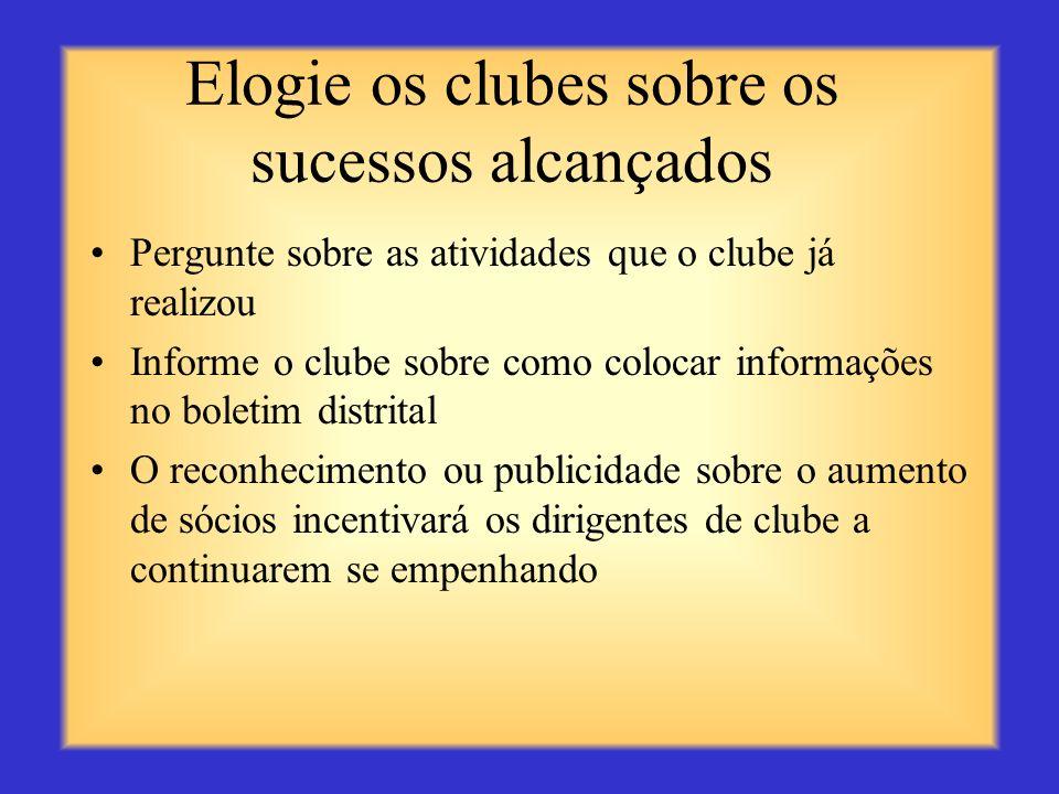Ofereça assistência Discuta com os dirigentes de clube sobre maneiras de implementar uma atividade de serviço, realizar um projeto de arrecadação de f