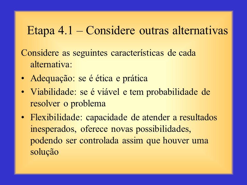 Etapa 3 – Pense em soluções alternativas Observe o problema por um ângulo ou perspectiva diferente Faça um debate livre de idéias para conseguir uma l