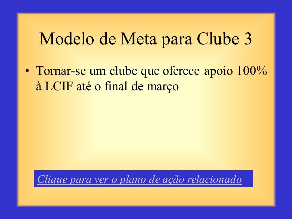 Modelo de Meta para Clube 2 Conservar 95% dos sócios até o final do presente ano Leonístico Clique para ver o plano de ação relacionado