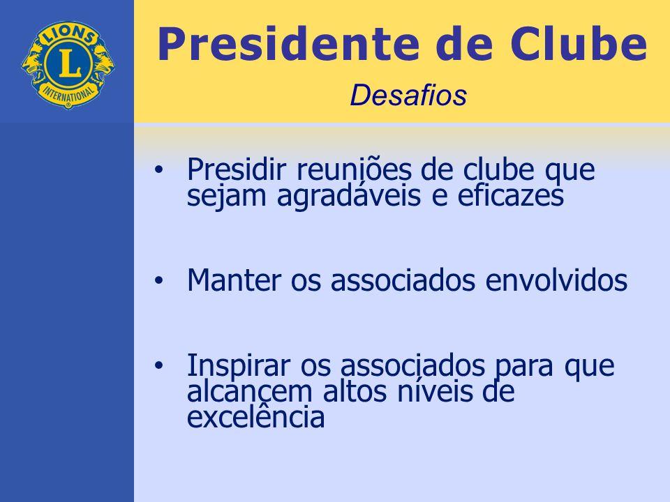 Presidente de Clube Presidir reuniões de clube que sejam agradáveis e eficazes Manter os associados envolvidos Inspirar os associados para que alcance