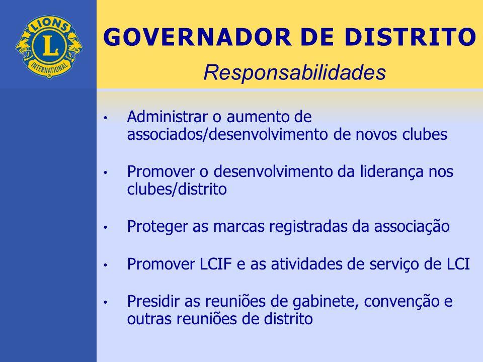 GOVERNADOR DE DISTRITO Administrar o aumento de associados/desenvolvimento de novos clubes Promover o desenvolvimento da liderança nos clubes/distrito