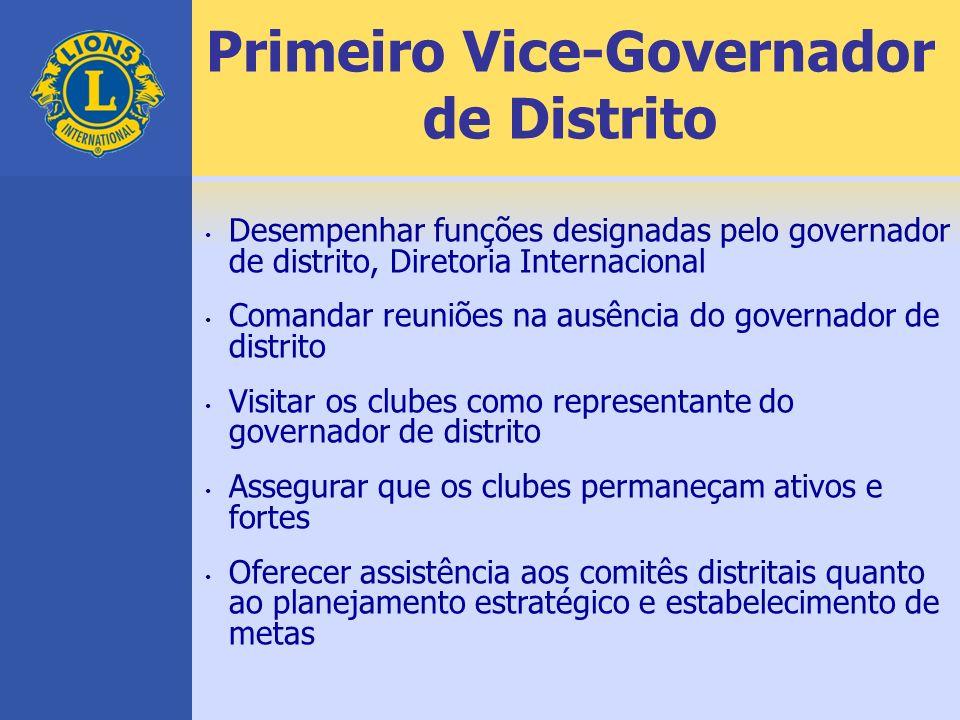 Primeiro Vice-Governador de Distrito Desempenhar funções designadas pelo governador de distrito, Diretoria Internacional Comandar reuniões na ausência