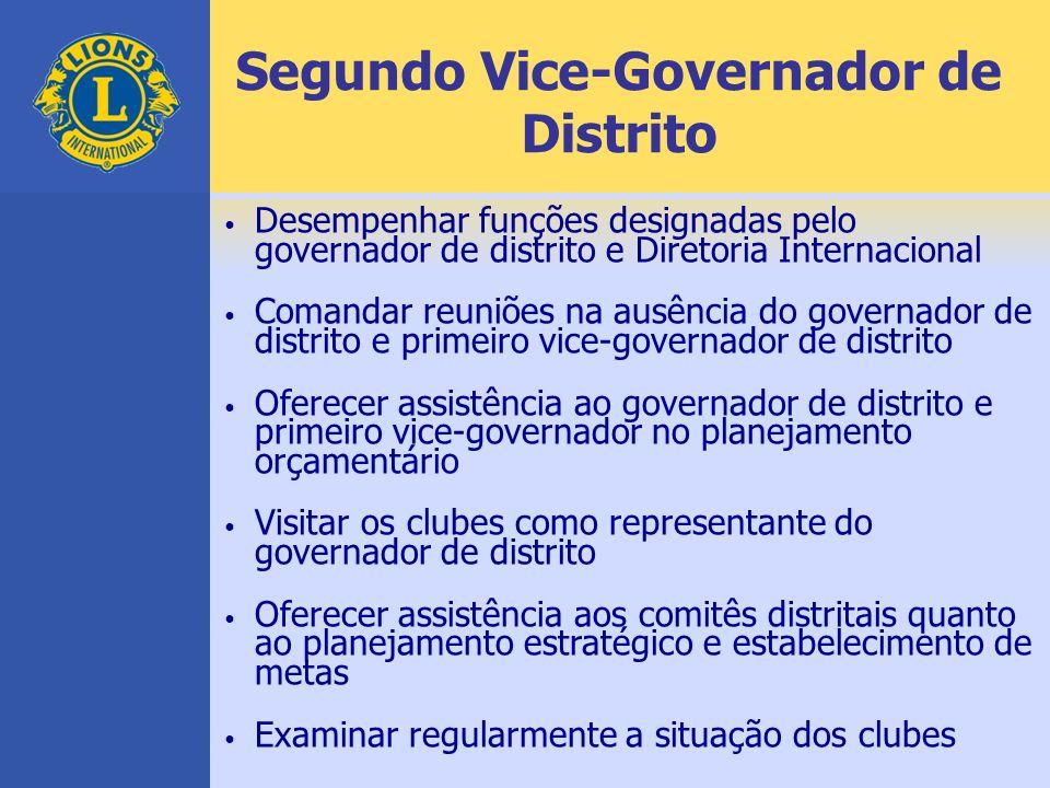 Segundo Vice-Governador de Distrito Desempenhar funções designadas pelo governador de distrito e Diretoria Internacional Comandar reuniões na ausência
