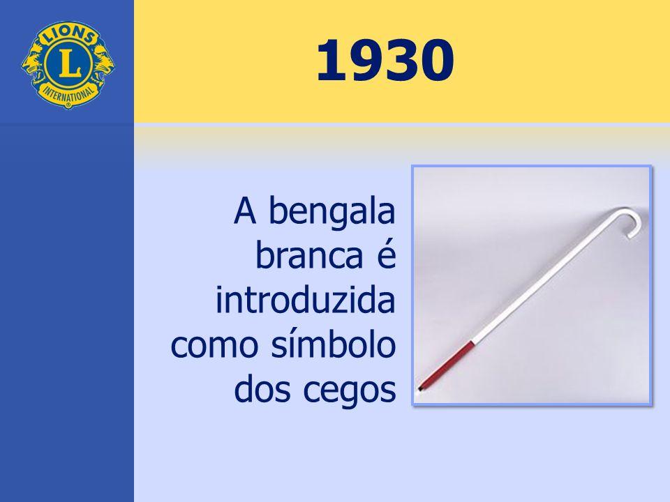 1930 A bengala branca é introduzida como símbolo dos cegos
