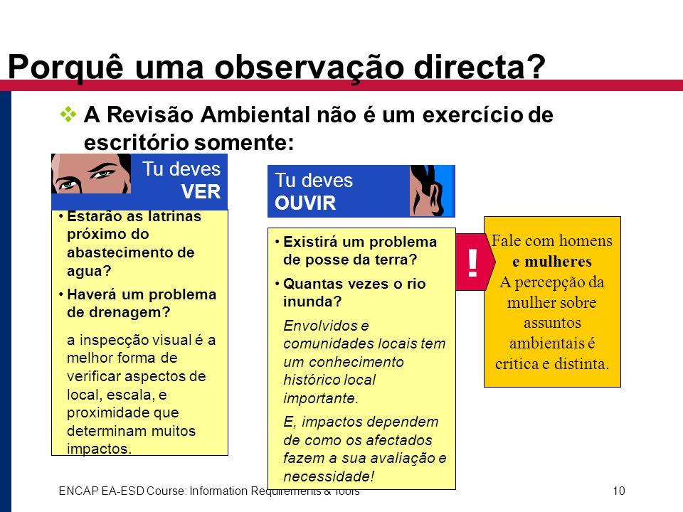 ENCAP EA-ESD Course: Information Requirements & Tools10 Porquê uma observação directa? A Revisão Ambiental não é um exercício de escritório somente: F