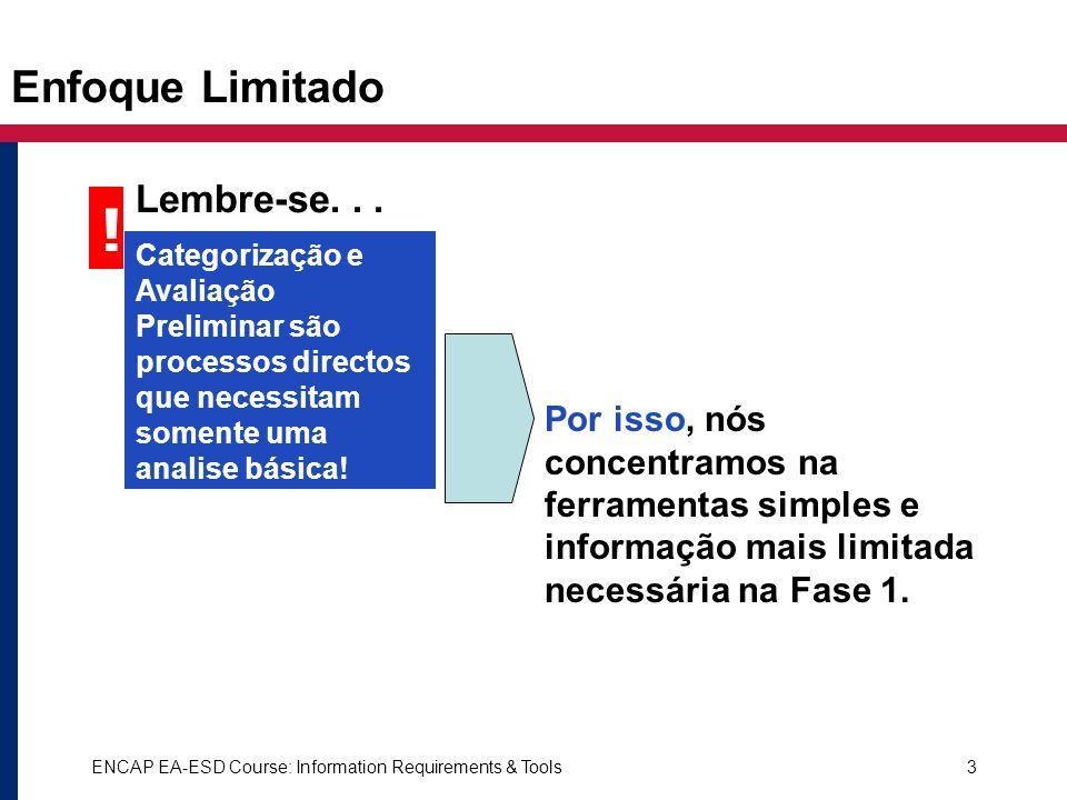 ENCAP EA-ESD Course: Information Requirements & Tools3 Enfoque Limitado Por isso, nós concentramos na ferramentas simples e informação mais limitada n