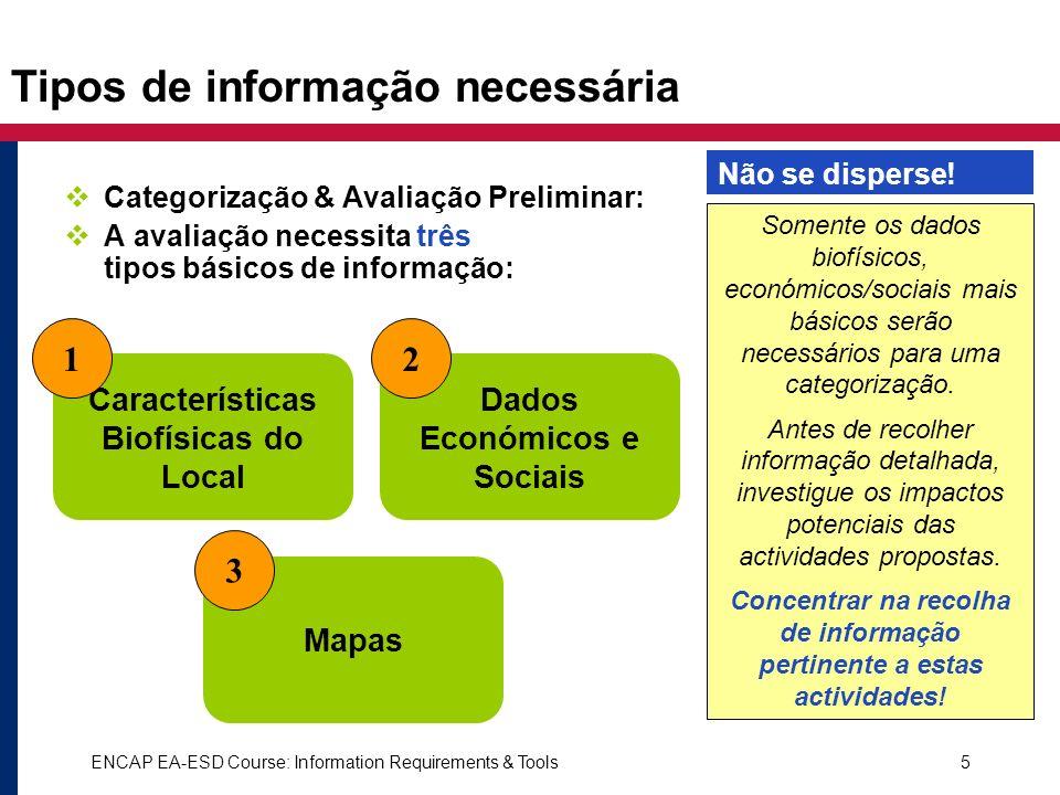 ENCAP EA-ESD Course: Information Requirements & Tools5 Tipos de informação necessária Categorização & Avaliação Preliminar: A avaliação necessita três