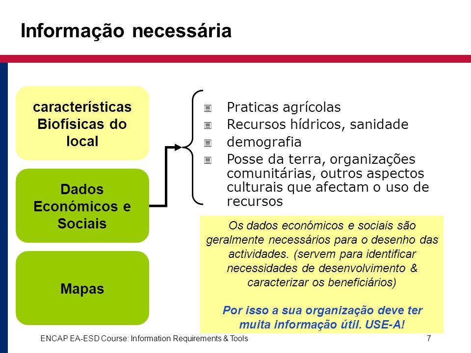 ENCAP EA-ESD Course: Information Requirements & Tools7 Os dados económicos e sociais são geralmente necessários para o desenho das actividades. (serve