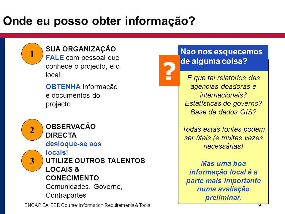 ENCAP EA-ESD Course: Information Requirements & Tools9 Onde eu posso obter informação? 1 2 OBSERVAÇÃO DIRECTA desloque-se aos locais! SUA ORGANIZAÇÃO