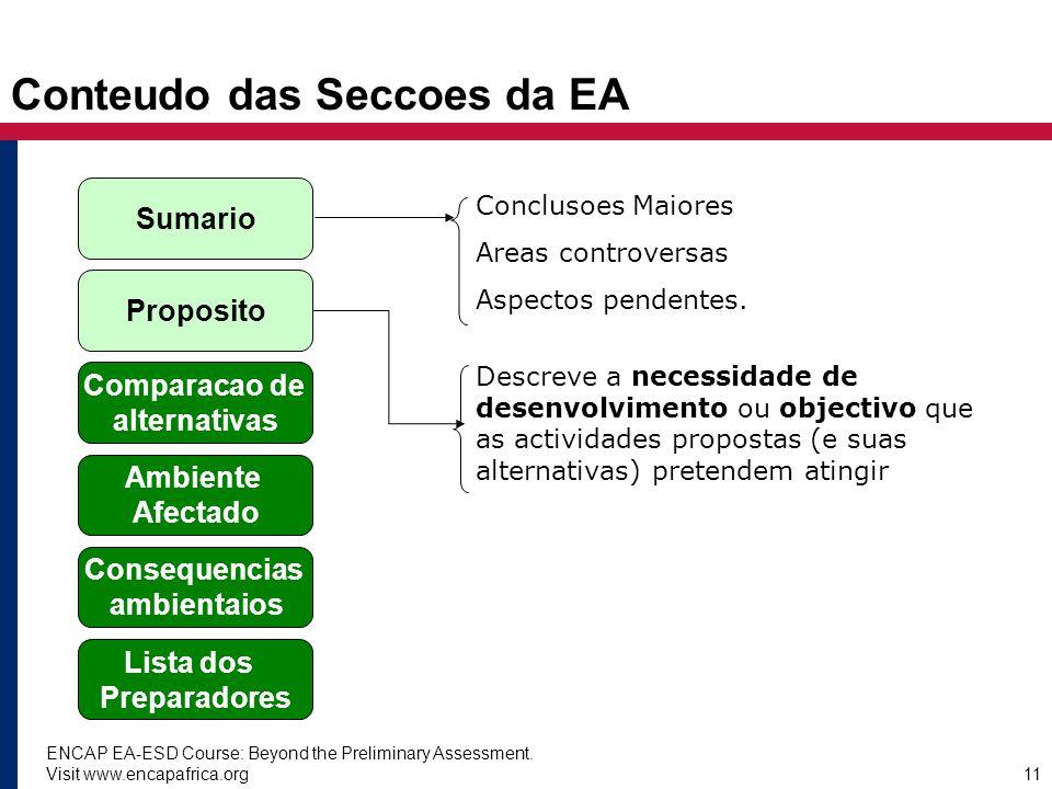 ENCAP EA-ESD Course: Beyond the Preliminary Assessment. Visit www.encapafrica.org11 Conteudo das Seccoes da EA Sumario Proposito Comparacao de alterna