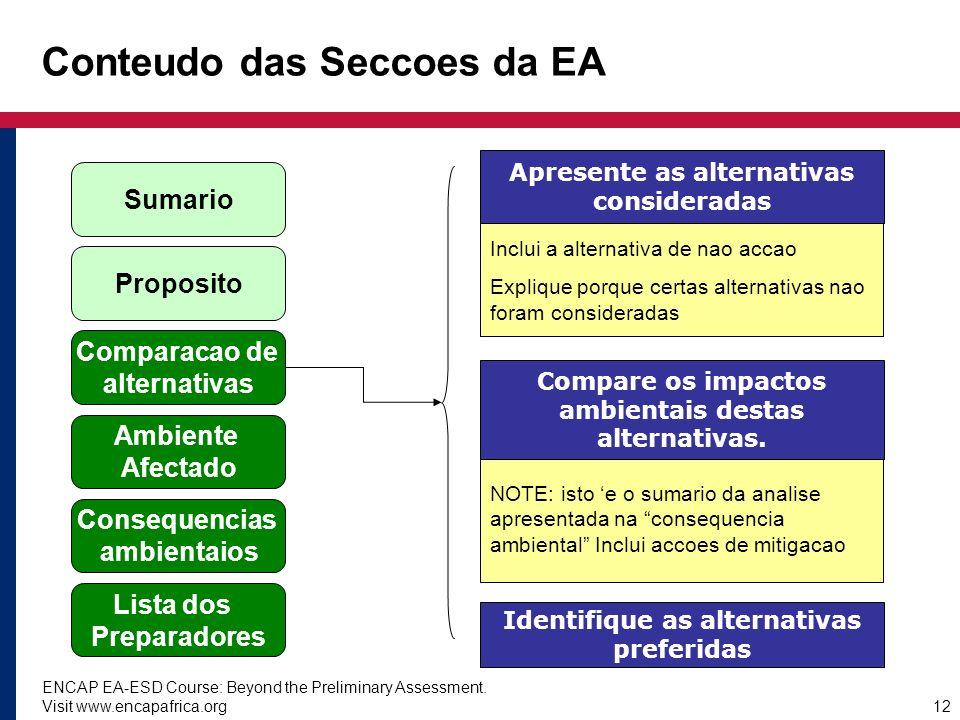 ENCAP EA-ESD Course: Beyond the Preliminary Assessment. Visit www.encapafrica.org12 Inclui a alternativa de nao accao Explique porque certas alternati