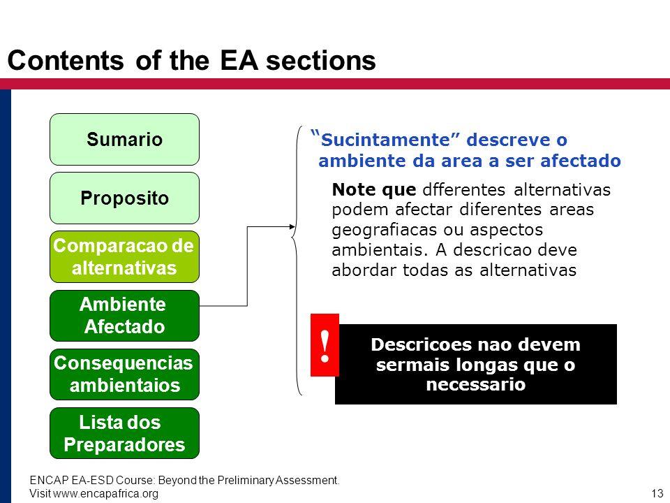 ENCAP EA-ESD Course: Beyond the Preliminary Assessment. Visit www.encapafrica.org13 Contents of the EA sections Sucintamente descreve o ambiente da ar