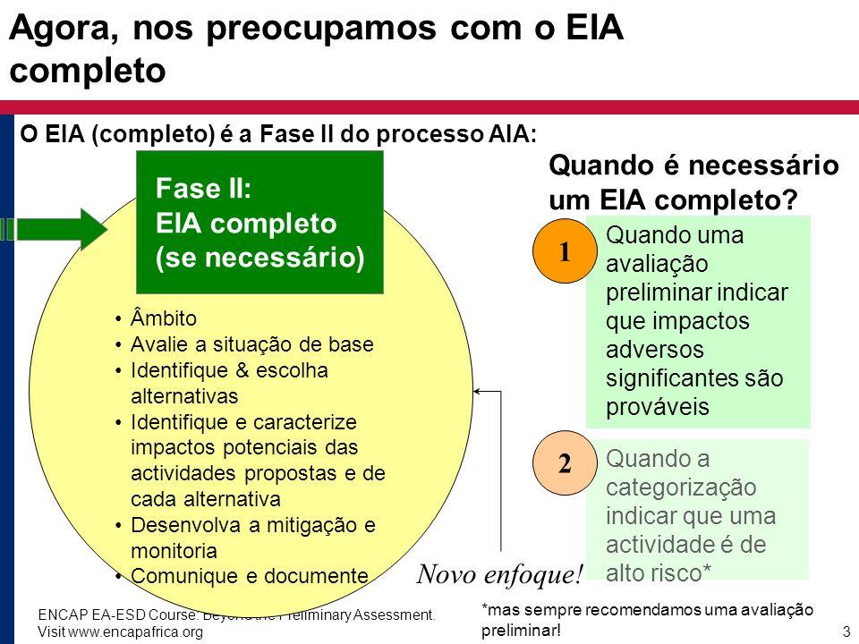ENCAP EA-ESD Course: Beyond the Preliminary Assessment. Visit www.encapafrica.org3 Agora, nos preocupamos com o EIA completo O EIA (completo) é a Fase