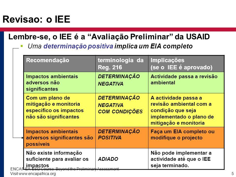 ENCAP EA-ESD Course: Beyond the Preliminary Assessment. Visit www.encapafrica.org5 Revisao: o IEE Lembre-se, o IEE é a Avaliação Preliminar da USAID U