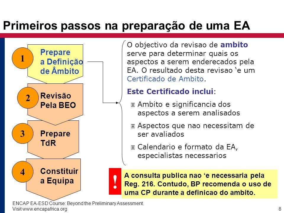 ENCAP EA-ESD Course: Beyond the Preliminary Assessment. Visit www.encapafrica.org8 Primeiros passos na preparação de uma EA 1 3 4 Prepare a Definição
