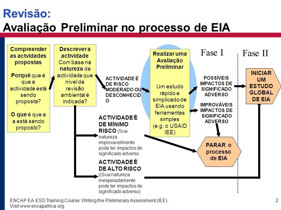 ENCAP EA-ESD Training Course: Writing the Preliminary Assessment (IEE). Visit www.encapafrica.org. 2 Revisão: Avaliação Preliminar no processo de EIA