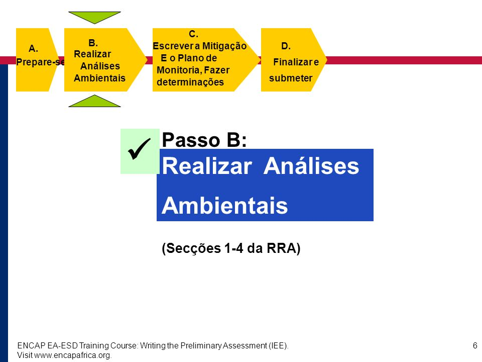 ENCAP EA-ESD Training Course: Writing the Preliminary Assessment (IEE). Visit www.encapafrica.org. 6 Passo B: Realizar Análises Ambientais (Secções 1-