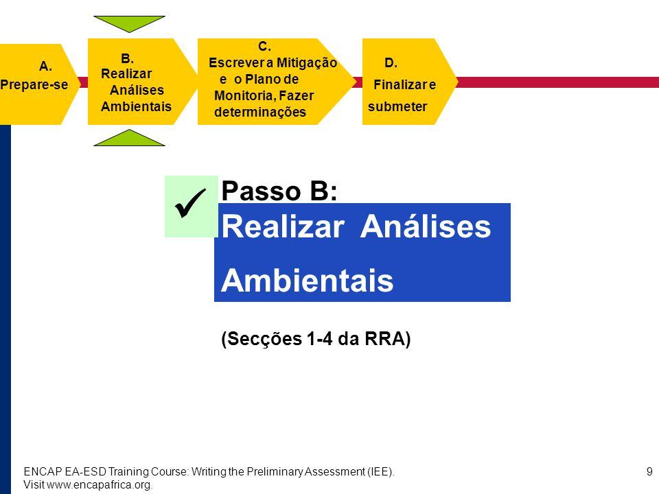 ENCAP EA-ESD Training Course: Writing the Preliminary Assessment (IEE). Visit www.encapafrica.org. 9 Passo B: Realizar Análises Ambientais (Secções 1-