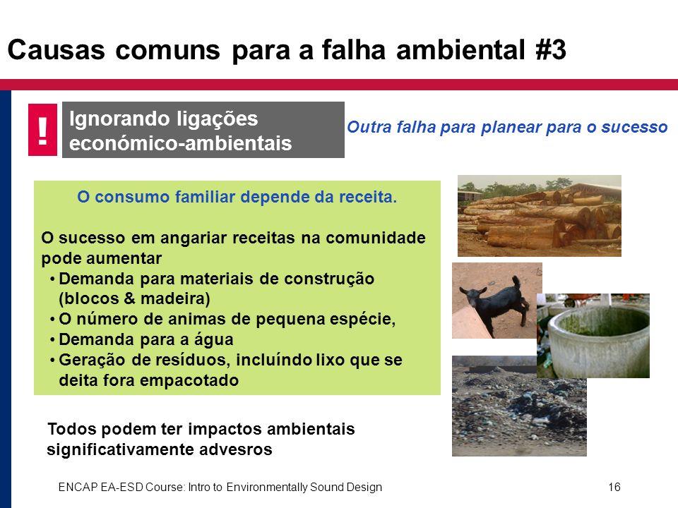 ENCAP EA-ESD Course: Intro to Environmentally Sound Design16 Causas comuns para a falha ambiental #3 Ignorando ligações económico-ambientais ! O consu