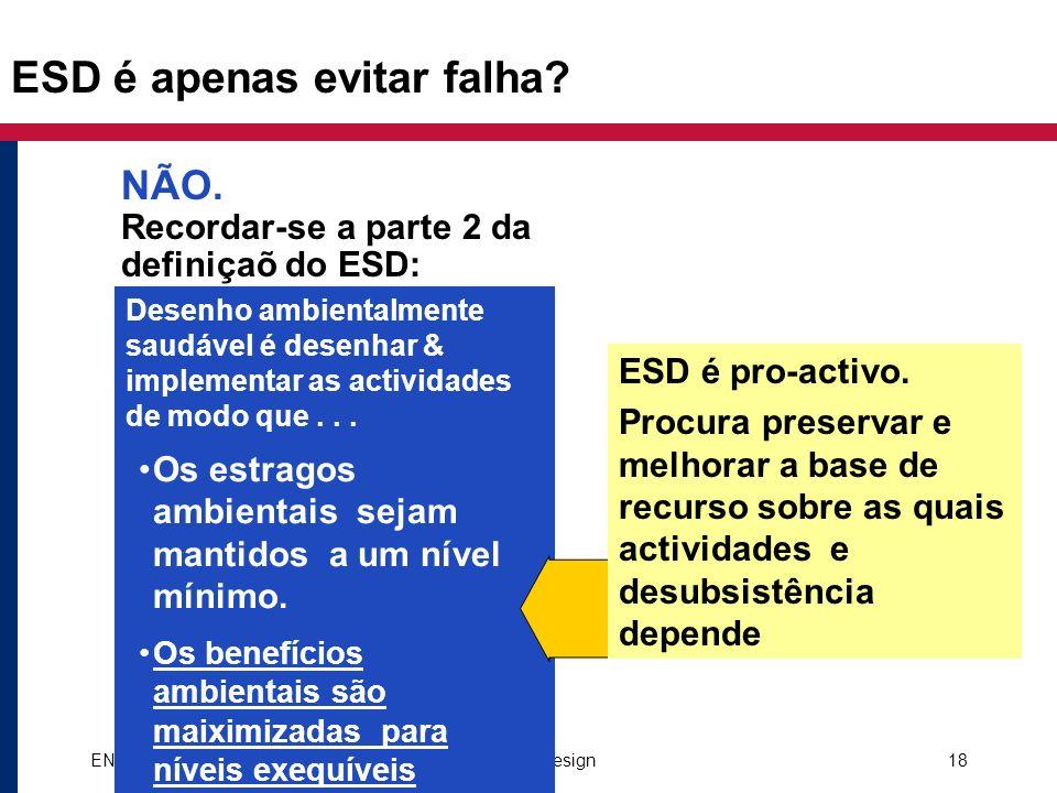 ENCAP EA-ESD Course: Intro to Environmentally Sound Design18 ESD é apenas evitar falha? NÃO. Recordar-se a parte 2 da definiçaõ do ESD: Desenho ambien