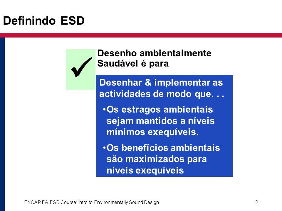 ENCAP EA-ESD Course: Intro to Environmentally Sound Design2 Desenho ambientalmente Saudável é para Desenhar & implementar as actividades de modo que..