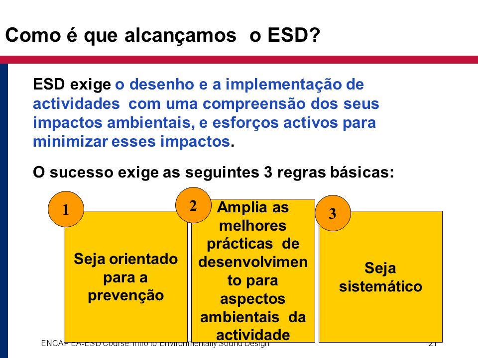 ENCAP EA-ESD Course: Intro to Environmentally Sound Design21 Como é que alcançamos o ESD? ESD exige o desenho e a implementação de actividades com uma