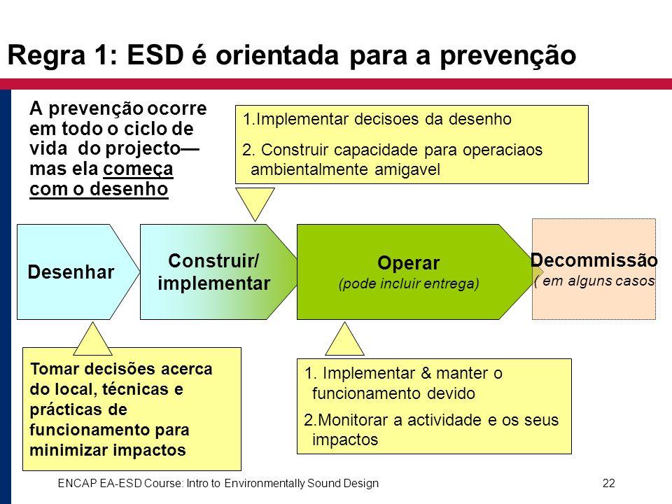 ENCAP EA-ESD Course: Intro to Environmentally Sound Design22 Regra 1: ESD é orientada para a prevenção Desenhar Construir/ implementar Operar (pode in