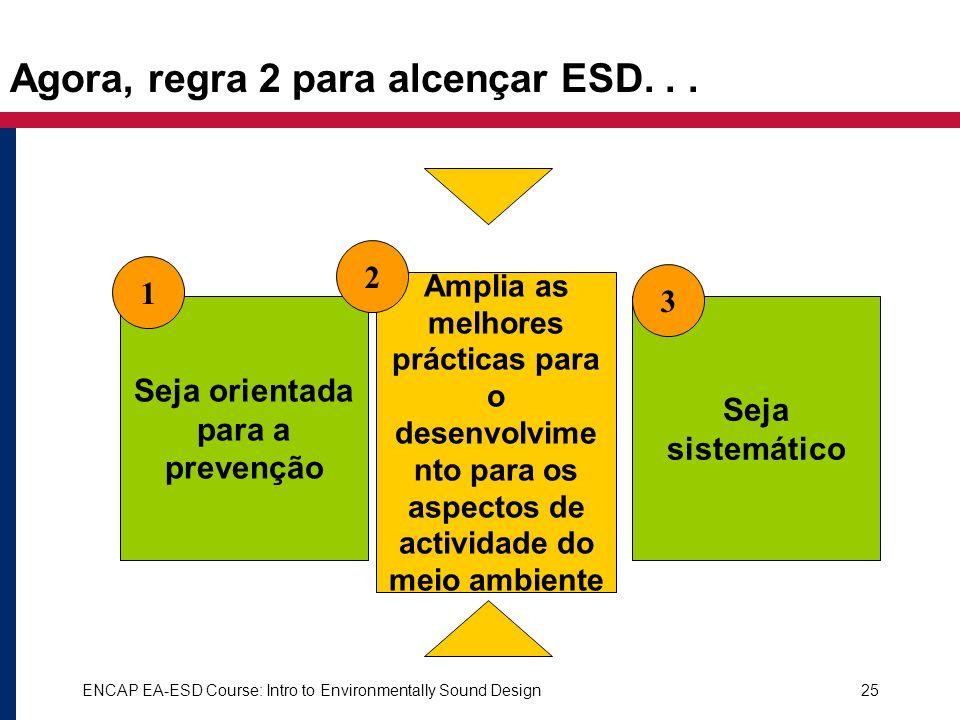ENCAP EA-ESD Course: Intro to Environmentally Sound Design25 Seja orientada para a prevenção Amplia as melhores prácticas para o desenvolvime nto para
