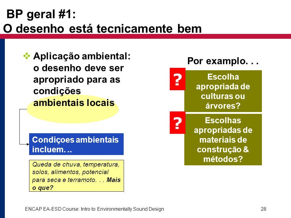 ENCAP EA-ESD Course: Intro to Environmentally Sound Design28 BP geral #1: O desenho está tecnicamente bem Aplicação ambiental: o desenho deve ser apro
