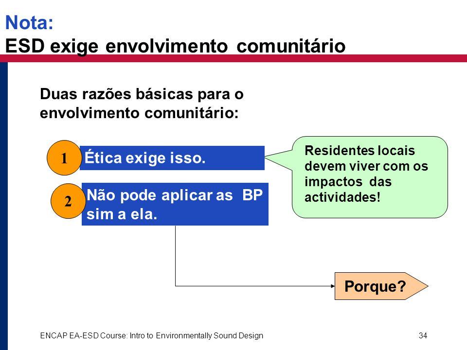 ENCAP EA-ESD Course: Intro to Environmentally Sound Design34 Ética exige isso. Nota: ESD exige envolvimento comunitário Duas razões básicas para o env