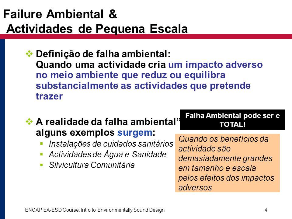 ENCAP EA-ESD Course: Intro to Environmentally Sound Design4 Failure Ambiental & Actividades de Pequena Escala Definição de falha ambiental: Quando uma